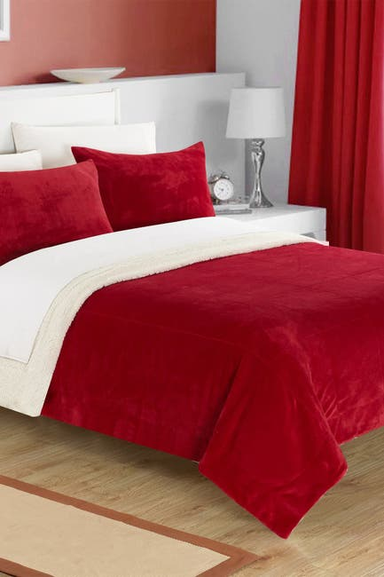 Image of Chic Home Bedding Queen Evelyn Faux Shearling Blanket Set - Burgundy
