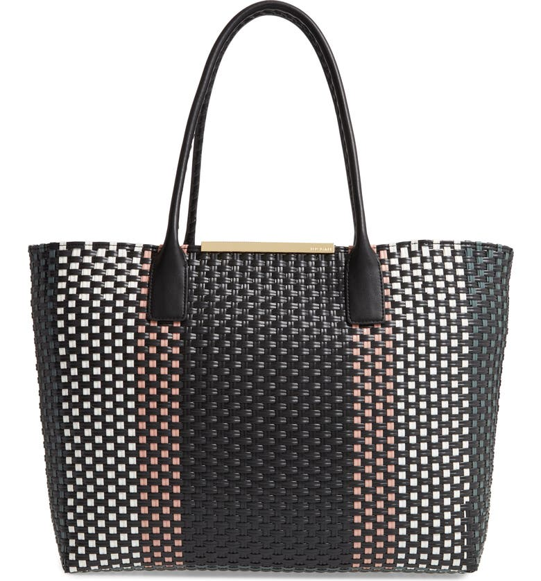 TED BAKER LONDON Small Maargo Woven Tote, Main, color, BLACK