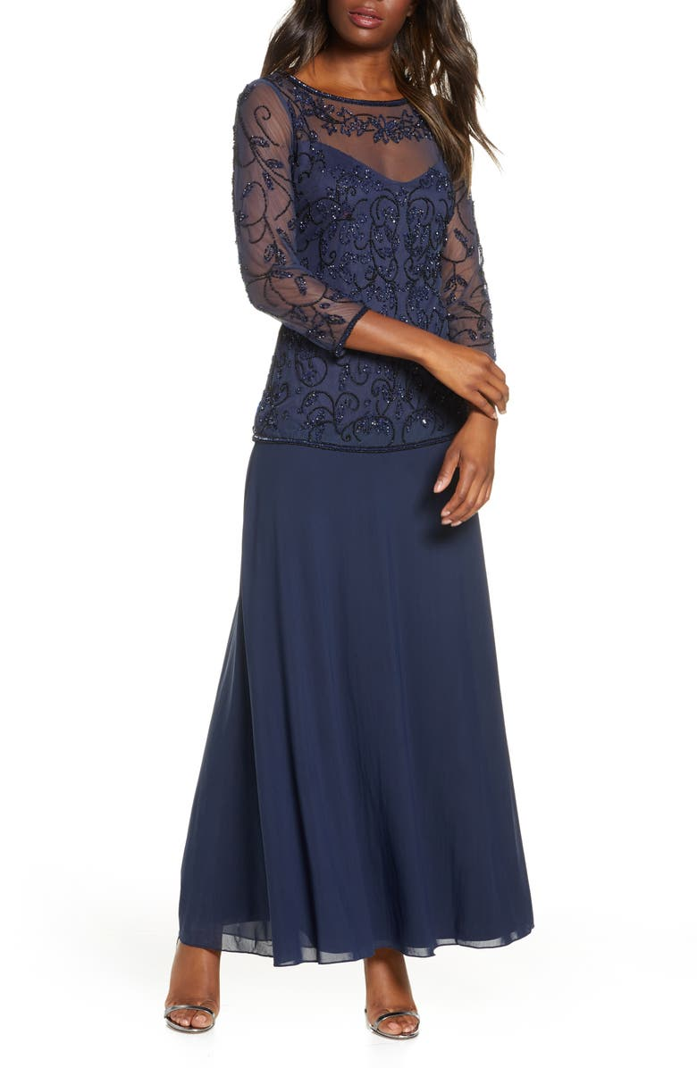 PISARRO NIGHTS Beaded Mesh Mock Two-Piece Gown, Main, color, NAVY/ BLACK