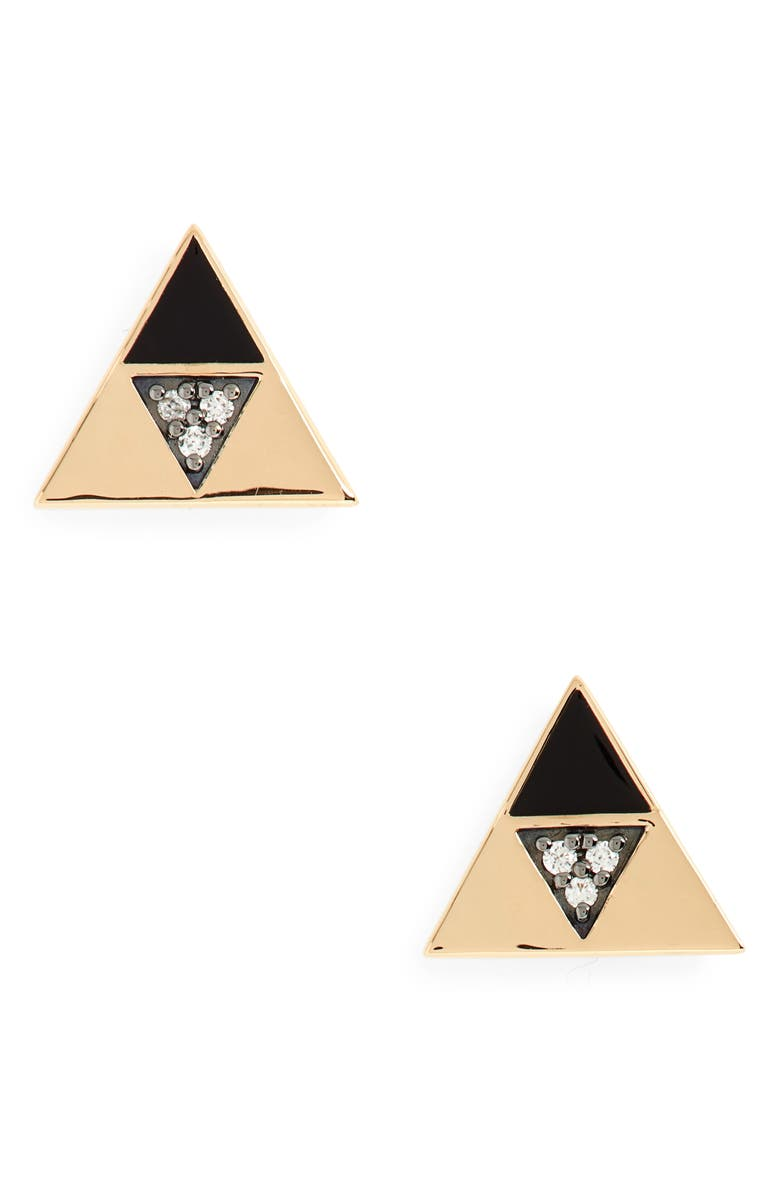 HARWELL GODFREY Enamel & Diamond Triangle Stud Earrings, Main, color, 710