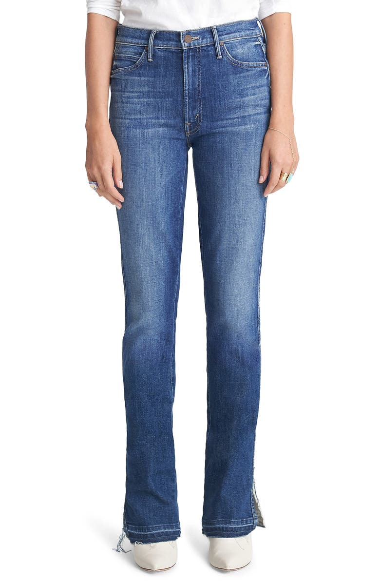 MOTHER The Rascal High Waist Slice Flare Jeans, Main, color, RIGHT OF PASSAGE