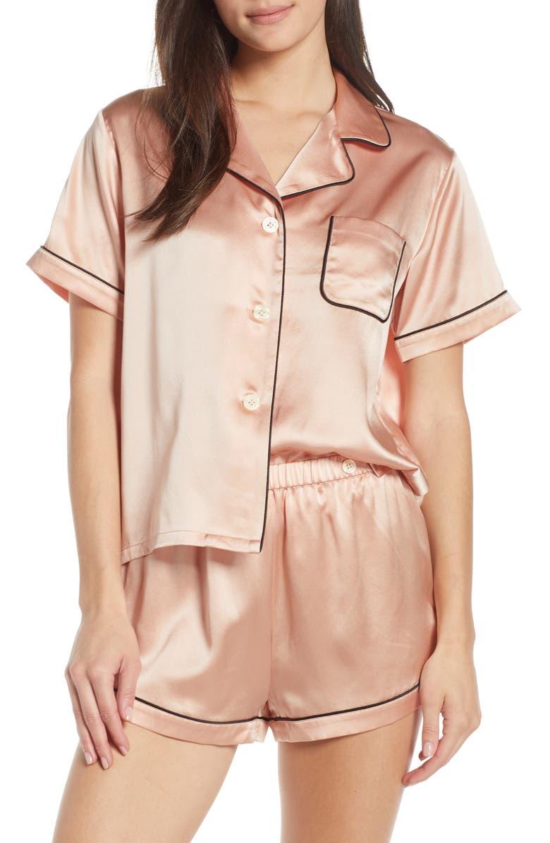 MORGAN LANE Katelyn Fiona Silk Short Pajamas, Main, color, ROSE SMOKE