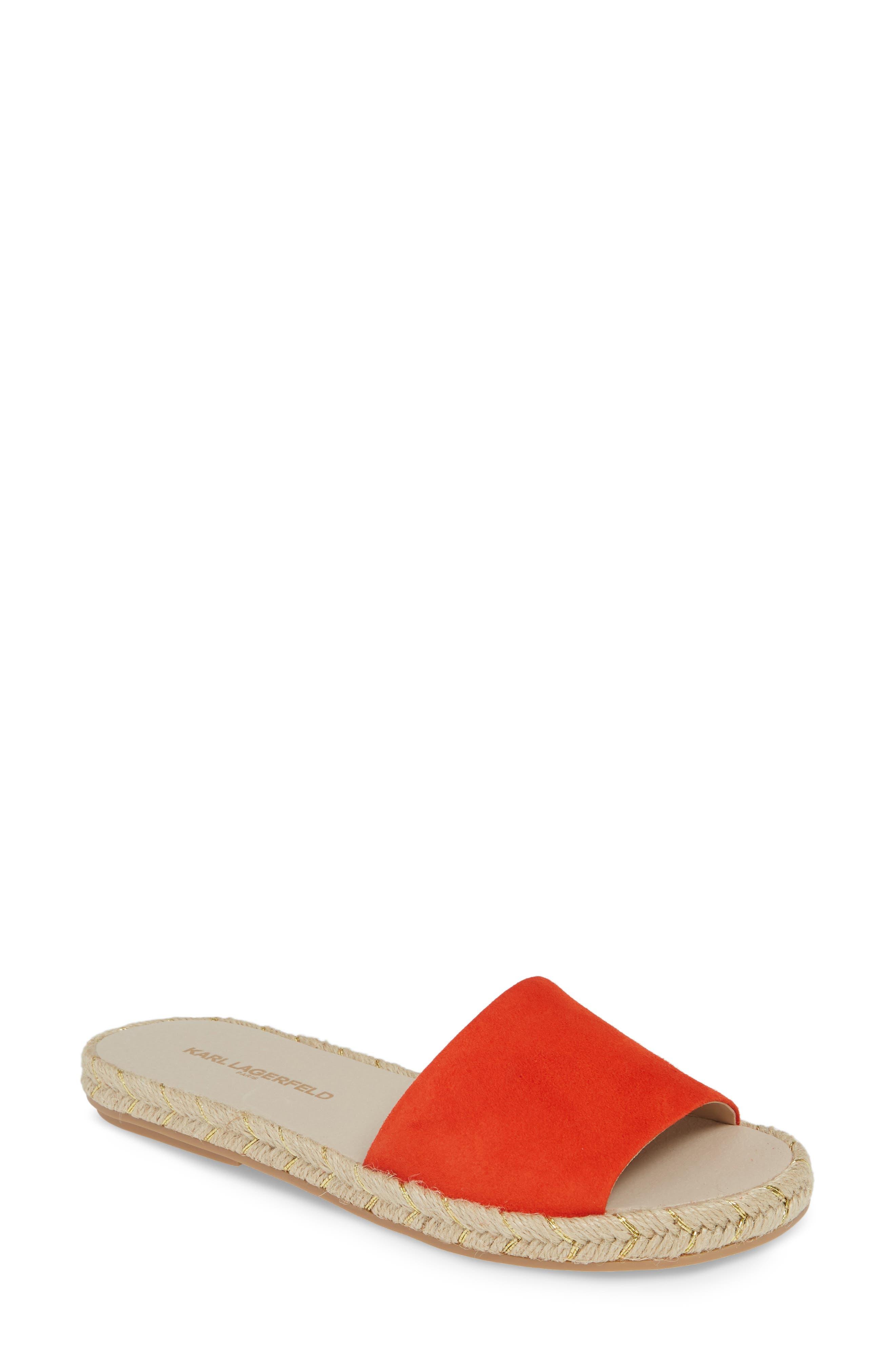 Karl Lagerfeld Paris Niya Slide Sandal- Orange