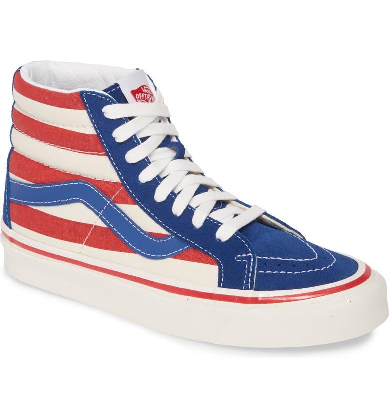VANS Sk8-Hi 38 DX High Top Sneaker, Main, color, BLUE/ RED STRIPES
