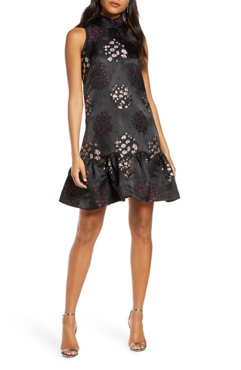 TAYLOR DRESSES Embroidered Jacquard Dress, Main, color, BLK/ BLUSH/ BURGUNDY