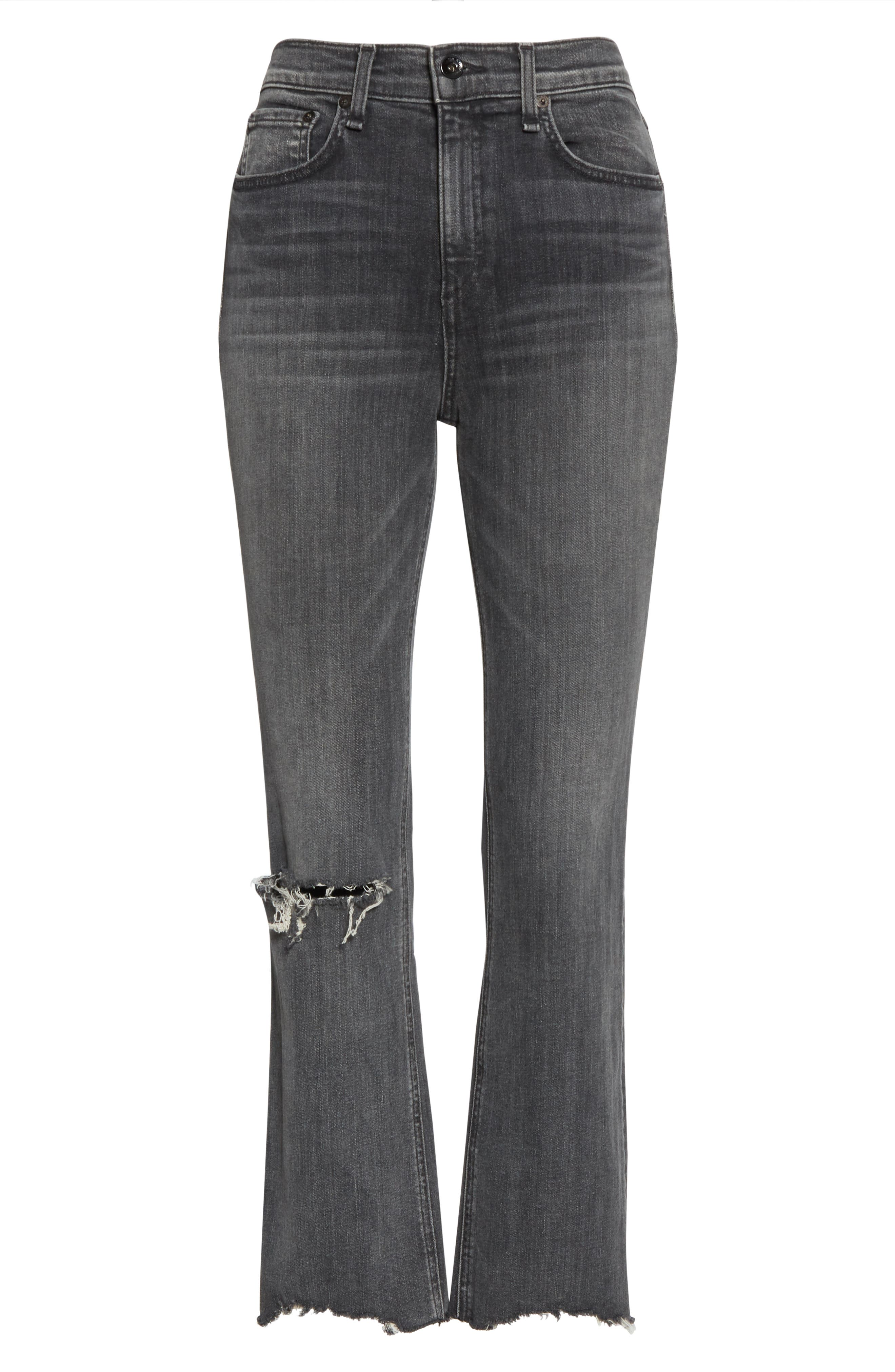 ,                             Nina Ankle Flare Jeans,                             Alternate thumbnail 7, color,                             001