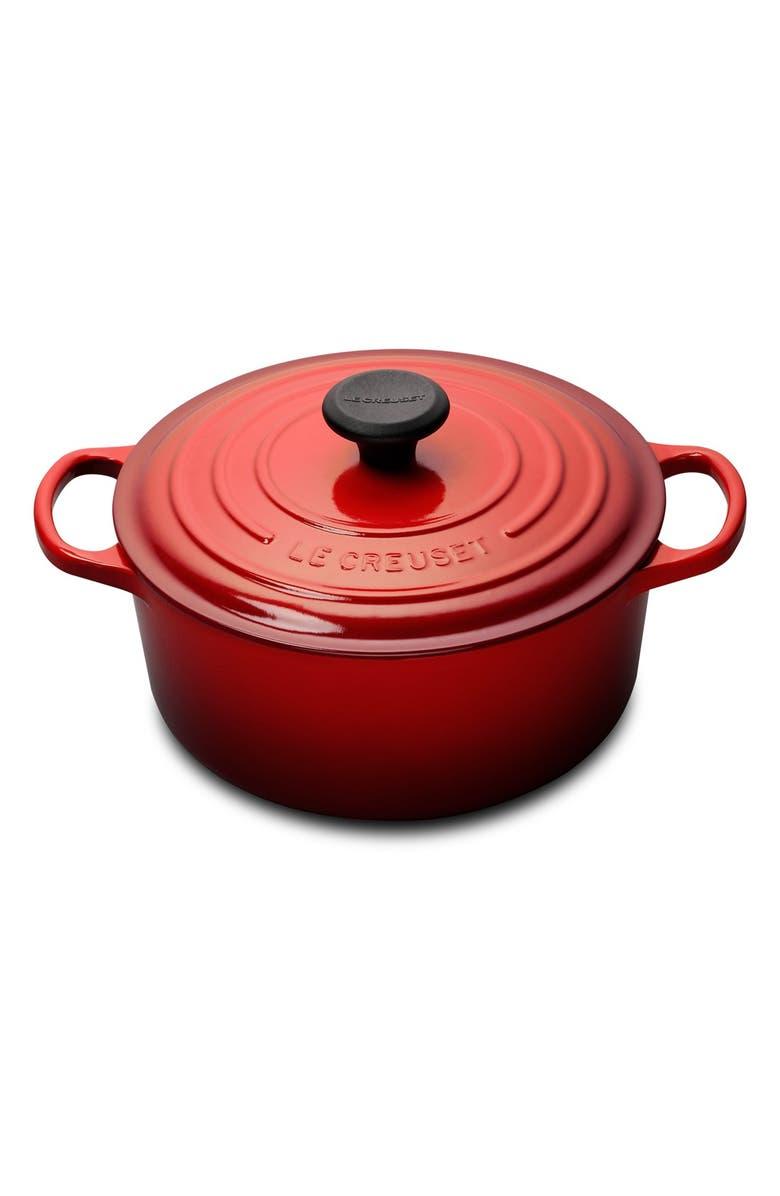 LE CREUSET Signature 4 1/2 Quart Round Enamel Cast Iron French/Dutch Oven, Main, color, CHERRY