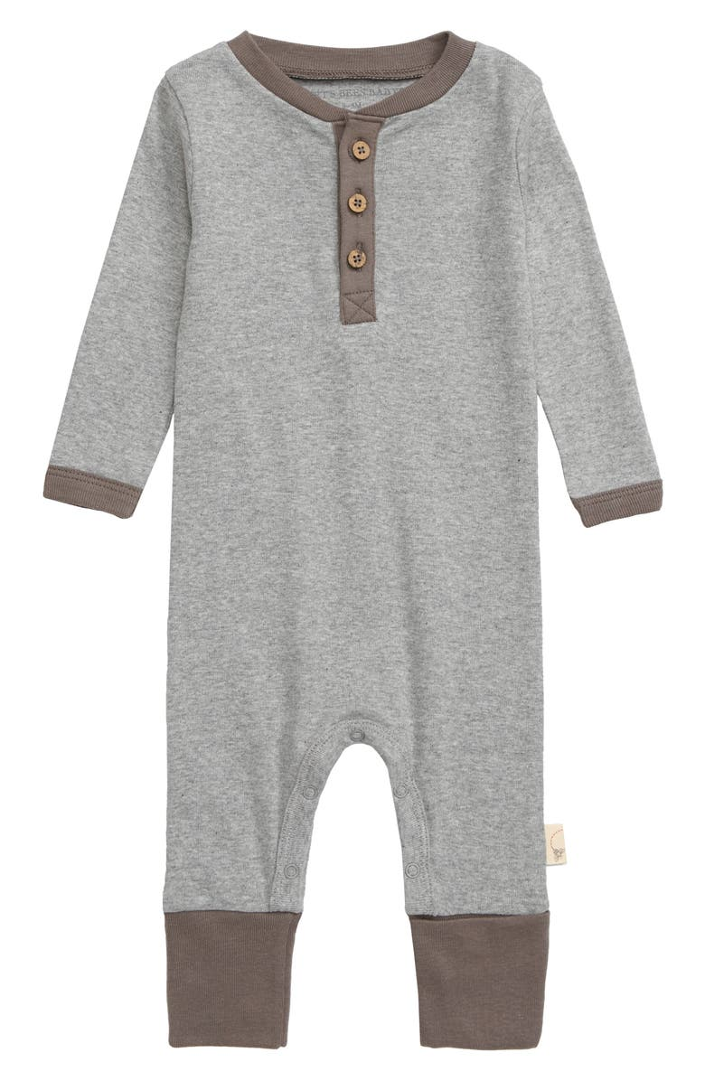 BURTS BEES Burt's Bees Baby Organic Cotton Henley Romper, Main, color, HEATHER GREY