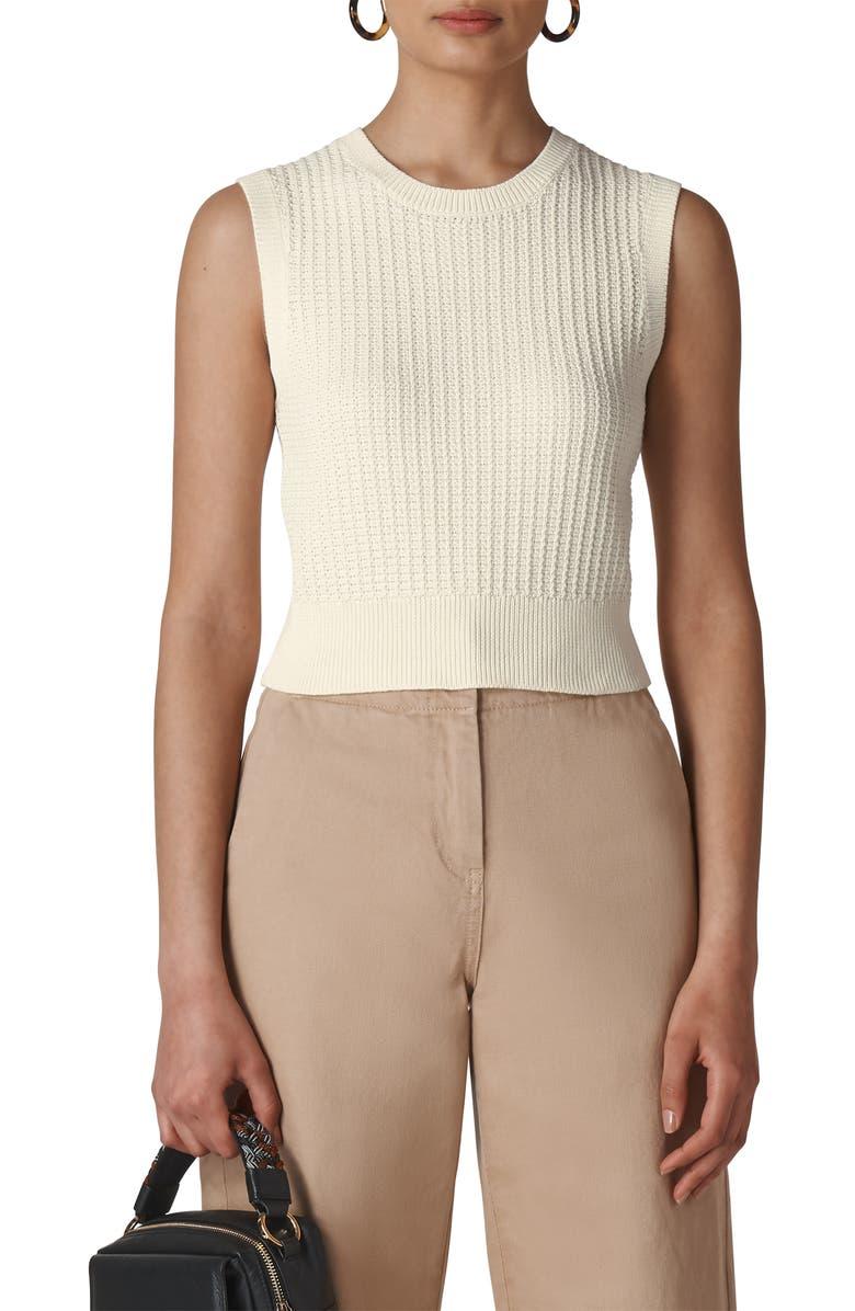 WHISTLES Waffle Stitch Sleeveless Cotton Sweater, Main, color, IVORY