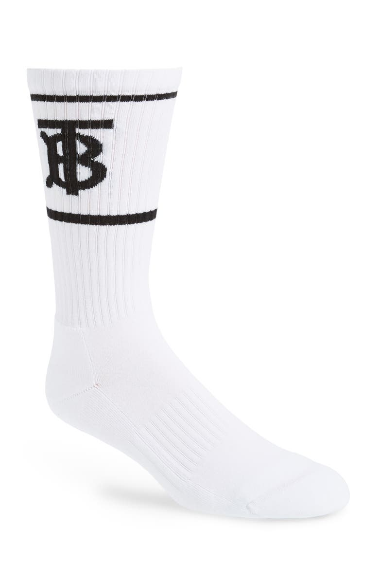 BURBERRY Monogram Stripe Crew Socks, Main, color, WHITE
