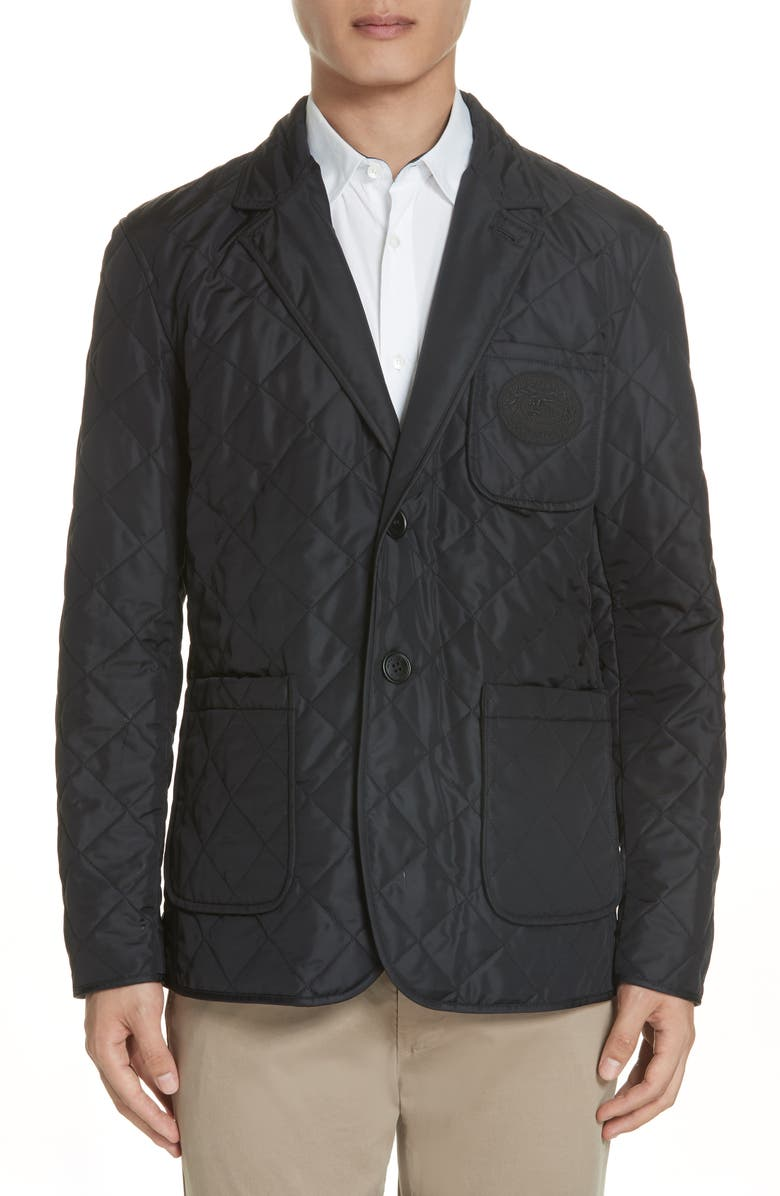BURBERRY Clifton Quilted Blazer, Main, color, BLACK