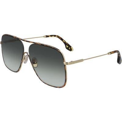 Victoria Beckham Loop Oversize Navigator Sunglasses - Havana/ Gold