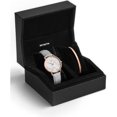 Mvmt Boulevard Beverly Marble Leather Strap Watch & Cuff Bracelet Set,