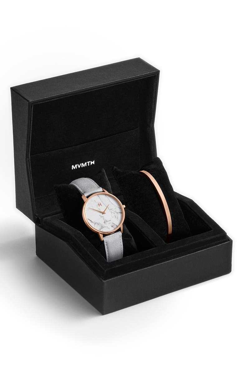 MVMT Boulevard Beverly Marble Leather Strap Watch & Cuff Bracelet Set, 38mm, Main, color, GREY/ WHITE/ ROSE GOLD