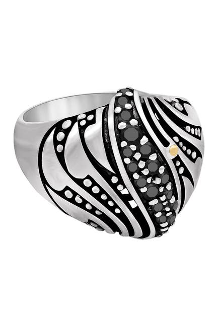 Image of DEVATA Sterling Silver Bali Filigree Black Spinel Dome Ring