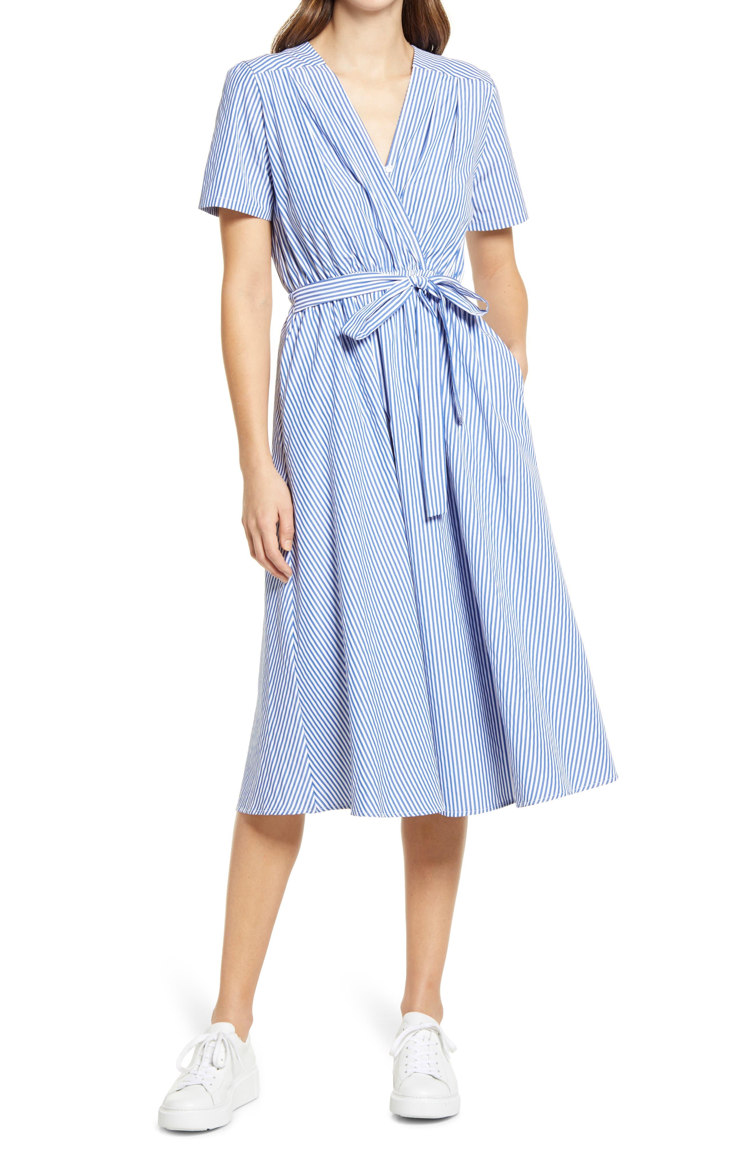 Stripe Surplice A-Line Midi Dress