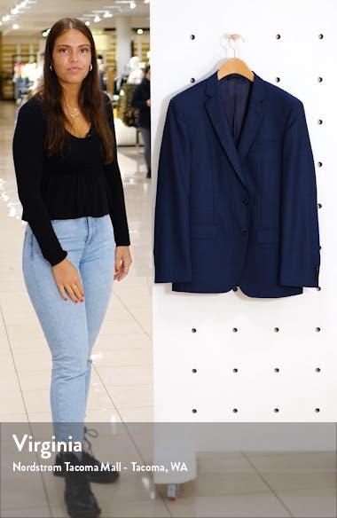 Huge Trim Fit Solid Wool Blazer, sales video thumbnail