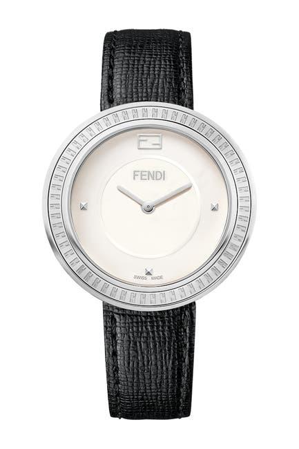 Image of FENDI Women's Fendi My Way Genuine Fox Fur Embossed Leather Strap Watch, 36mm