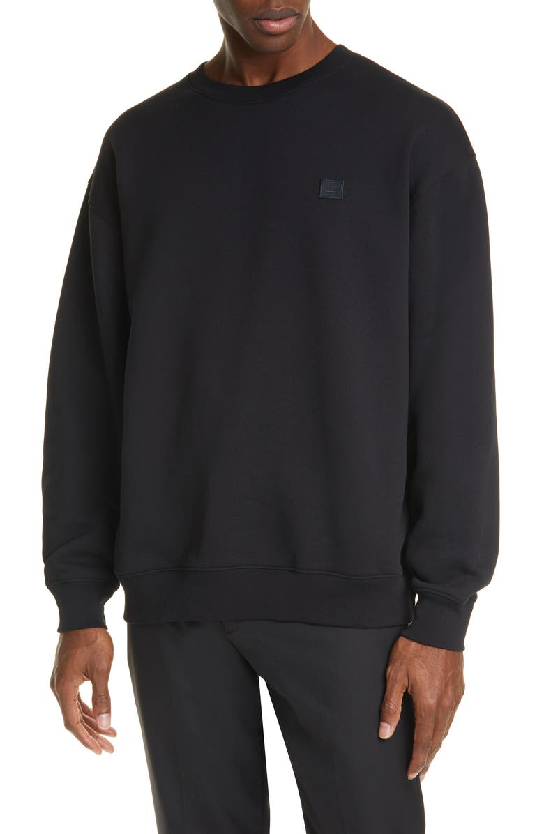 ACNE STUDIOS Forba Face Patch Crewneck Sweater, Main, color, BLACK