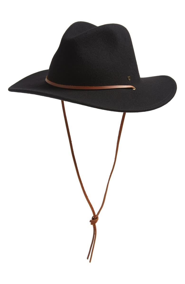 BRIXTON Field Tie Felted Wool Fedora, Main, color, BLACK