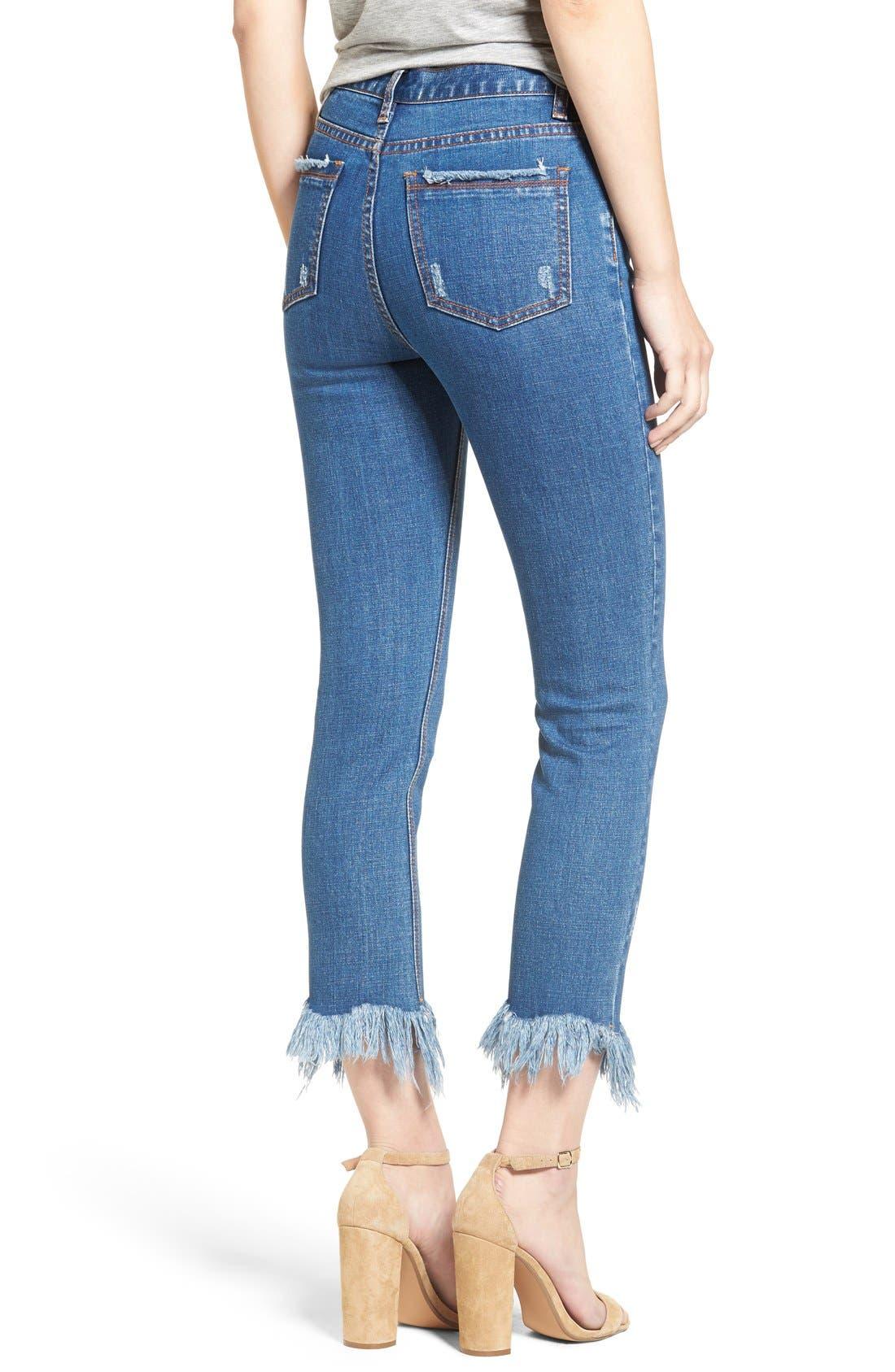,                             Frayed Hem High Rise Crop Jeans,                             Alternate thumbnail 14, color,                             436