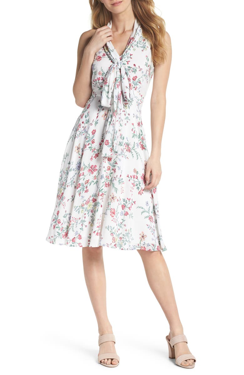 GAL MEETS GLAM COLLECTION Alexis Delicate Blossom Print Tie Neck Dress, Main, color, 650