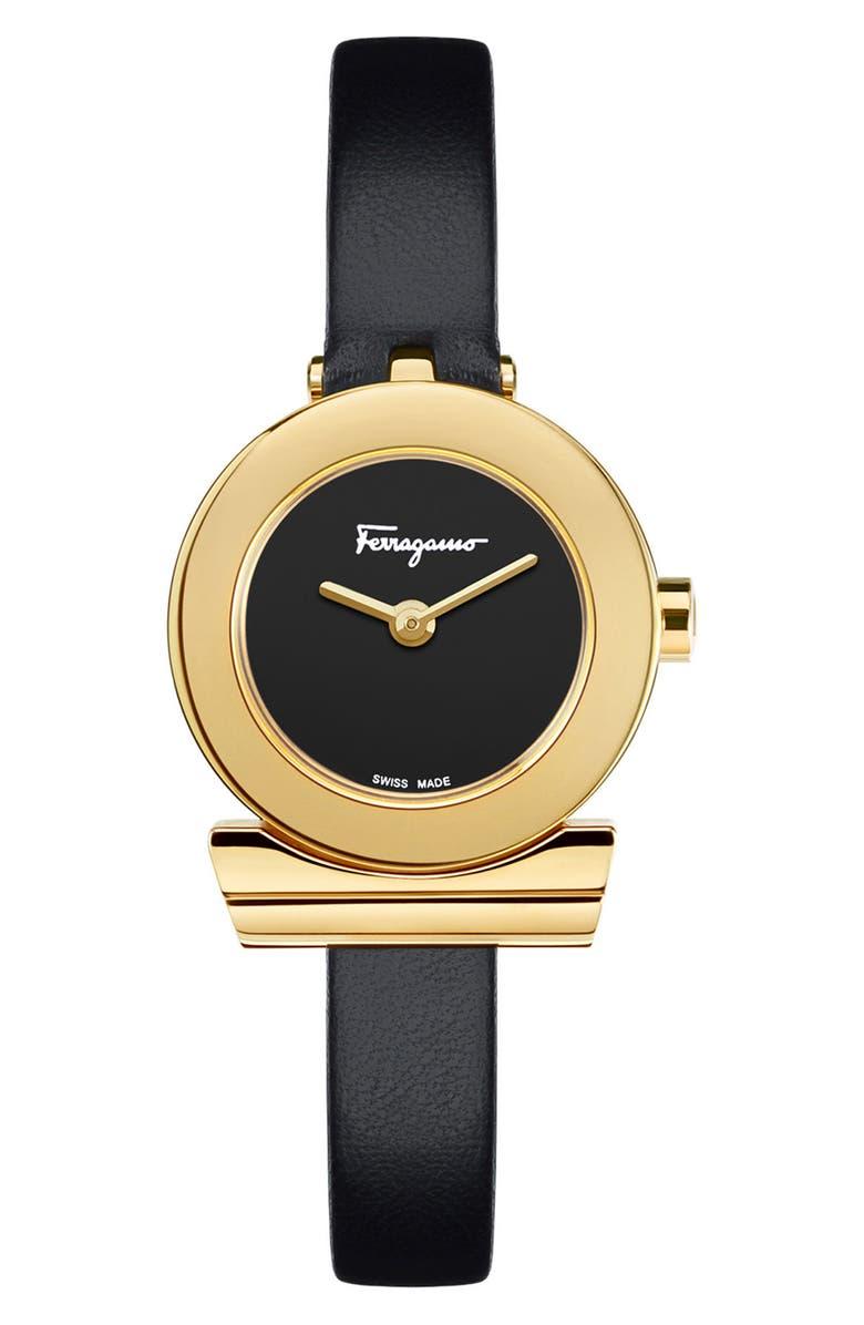 SALVATORE FERRAGAMO Gancino Leather Strap Watch, 22mm, Main, color, 001