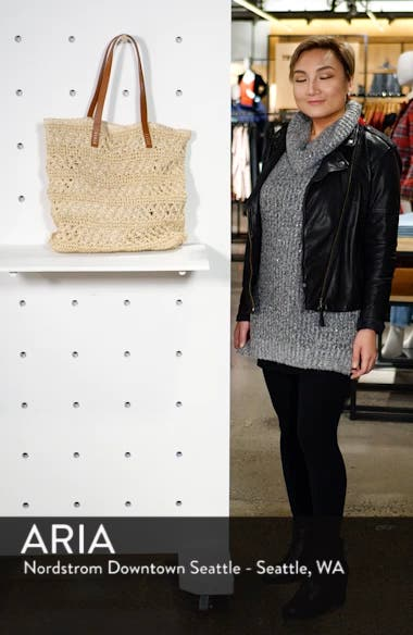 Packable Metallic Thread Woven Raffia Tote, sales video thumbnail