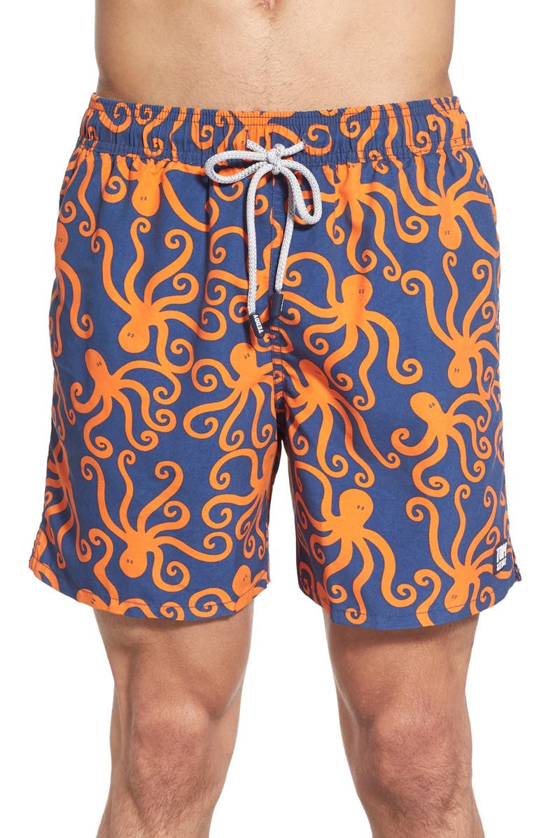 TOM & TEDDY 'Octopus Pattern' Swim Trunks, Main, color, BLUE/ ORANGE