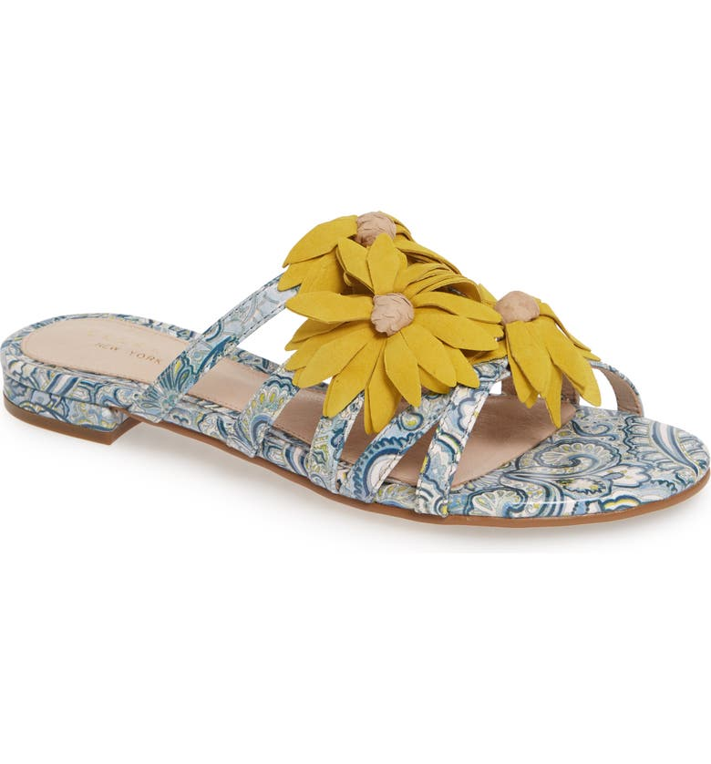 CECELIA NEW YORK Flower Slide Sandal, Main, color, BLUE MULTI/ GOLDEN SUN LEATHER