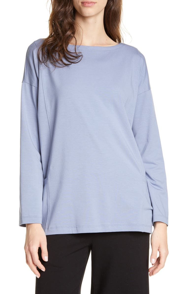 Eileen Fisher Drop In Pocket Organic Cotton Blend Top