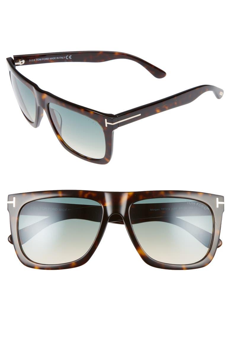 TOM FORD Morgan 57mm Sunglasses, Main, color, DARK HAVANA / GRADIENT BLUE