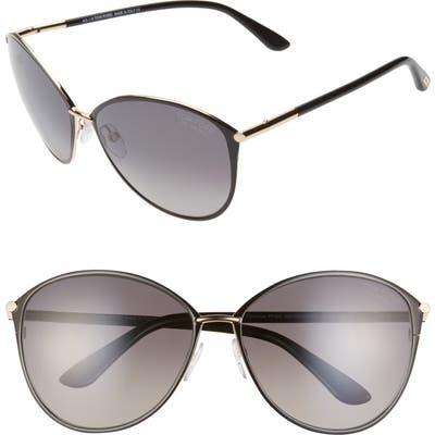 Tom Ford Penelope 5m Polarized Gradient Cat Eye Sunglasses - Shiny Rose Gold/ Brown