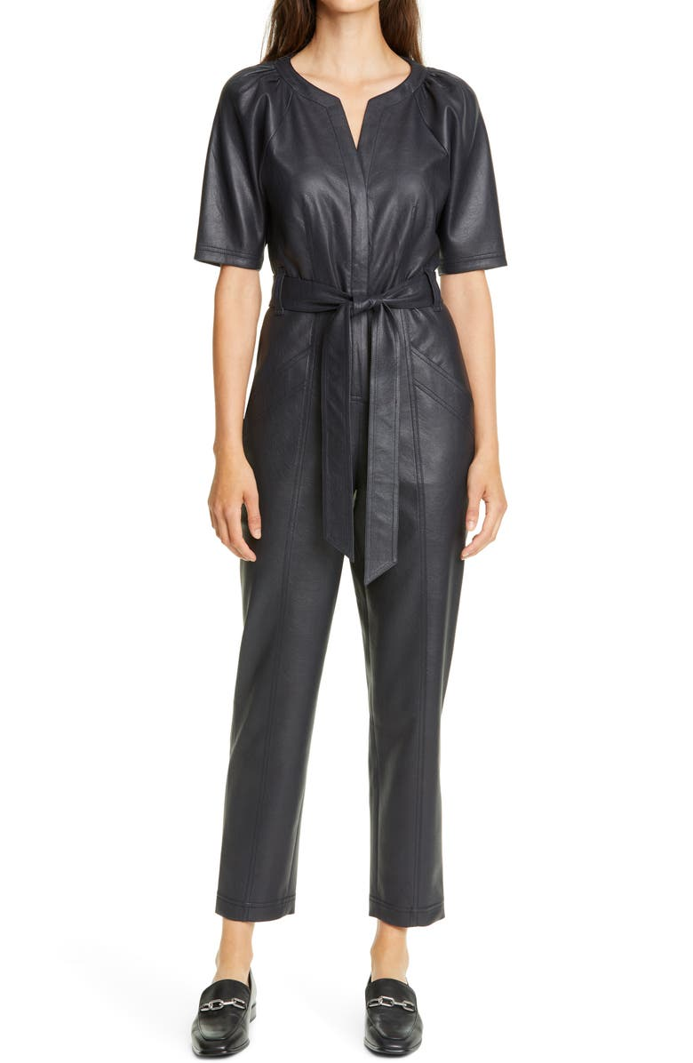 REBECCA TAYLOR Tie Waist Faux Leather Jumpsuit, Main, color, NAVY