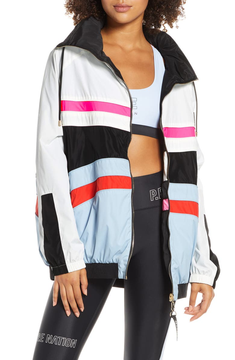 P.E NATION Easy Run Reversible Hooded Jacket, Main, color, MULTI