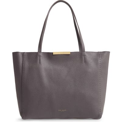 Ted Baker London Clarkia Faceted Bar Leather Shopper - Grey