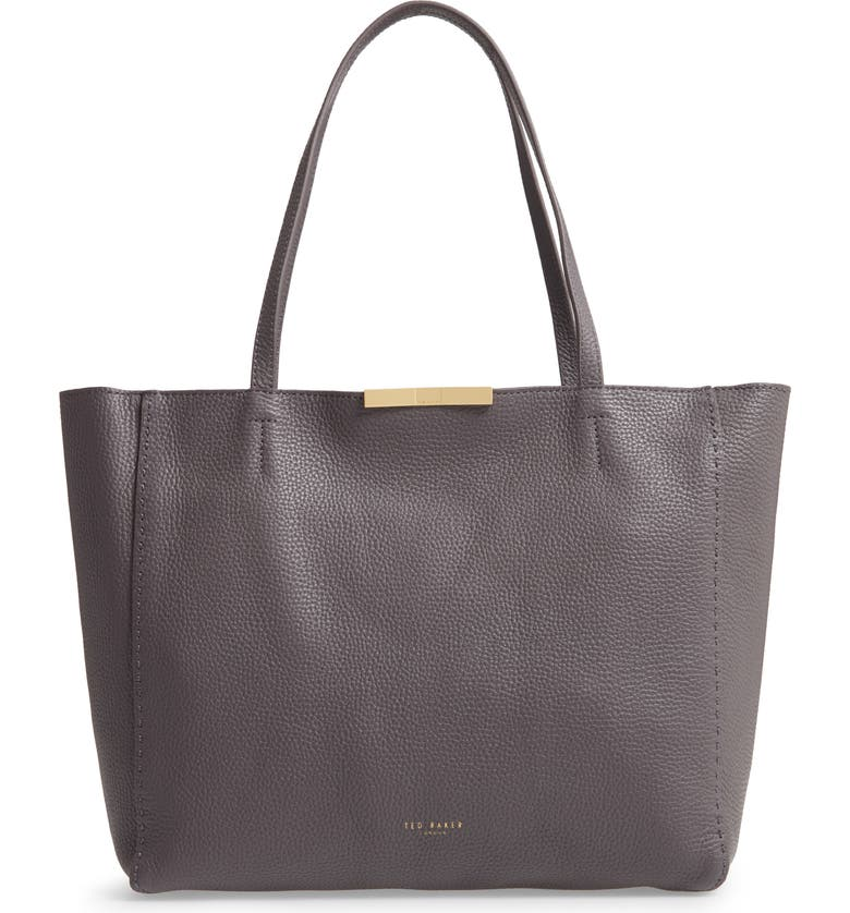 TED BAKER LONDON Clarkia Faceted Bar Leather Shopper, Main, color, CHARCOAL