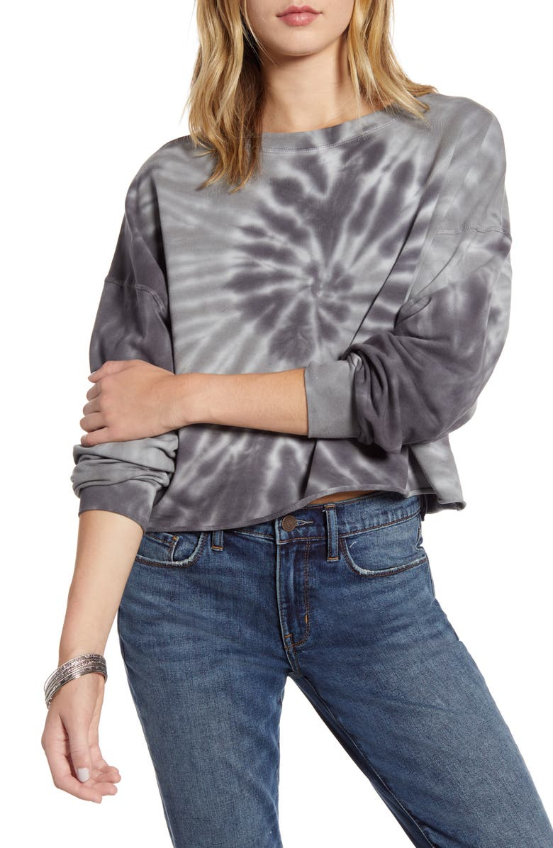 TREASURE & BOND Tie Dye Sweatshirt, Main, color, NAVY- BLUE TIE DYE COMBO