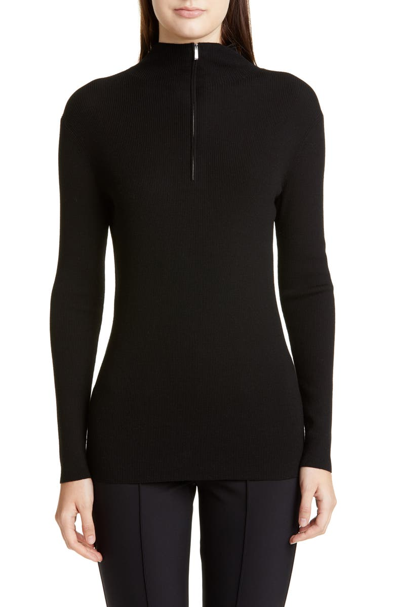 LAFAYETTE 148 NEW YORK Fitted Funnel Neck Rib Sweater, Main, color, BLACK