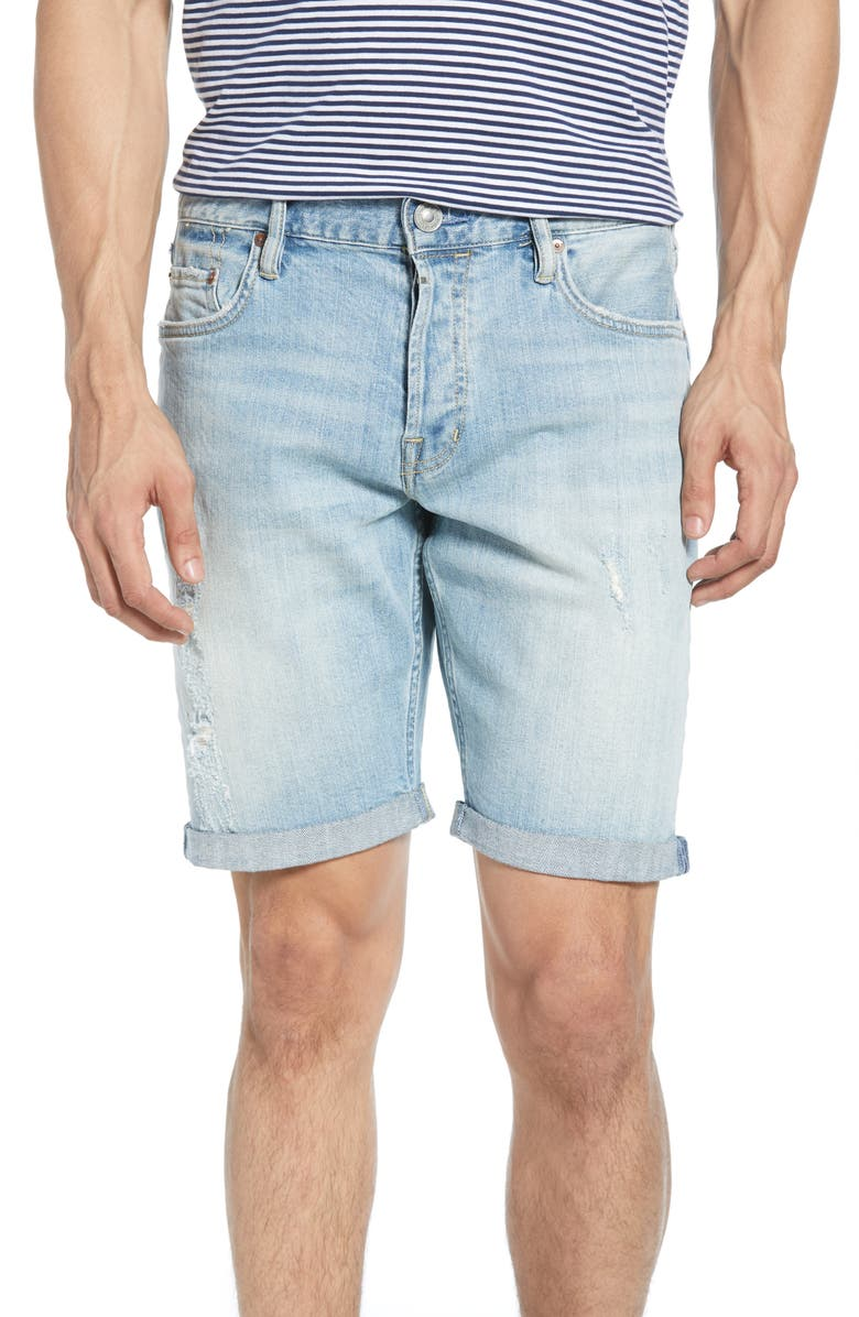 ALLSAINTS Switch Straight Denim Shorts, Main, color, LIGHT INDIGO BLUE