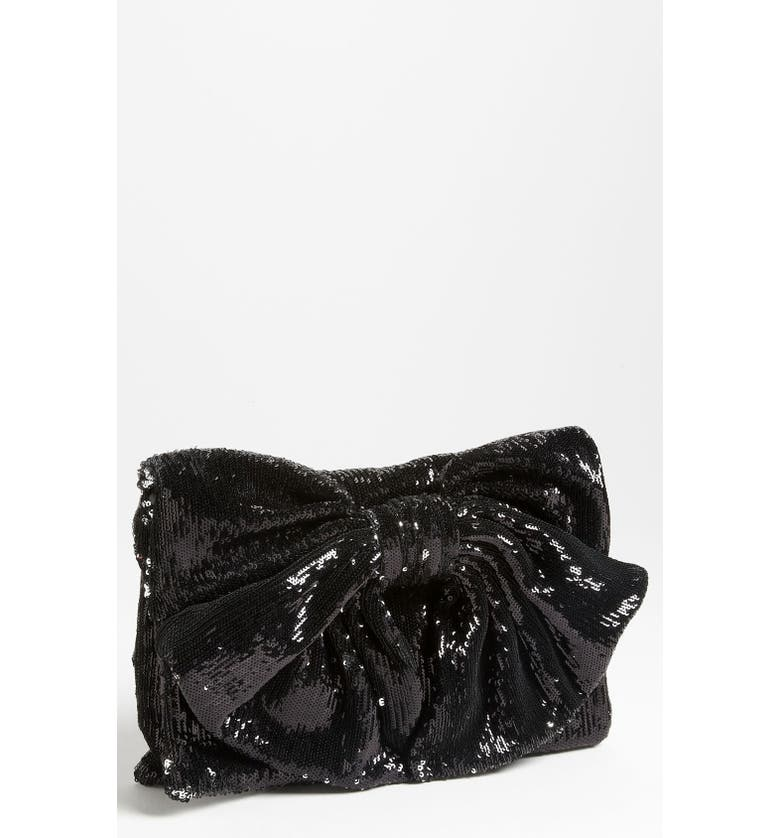 RED VALENTINO Sequin Bow Clutch, Main, color, 001