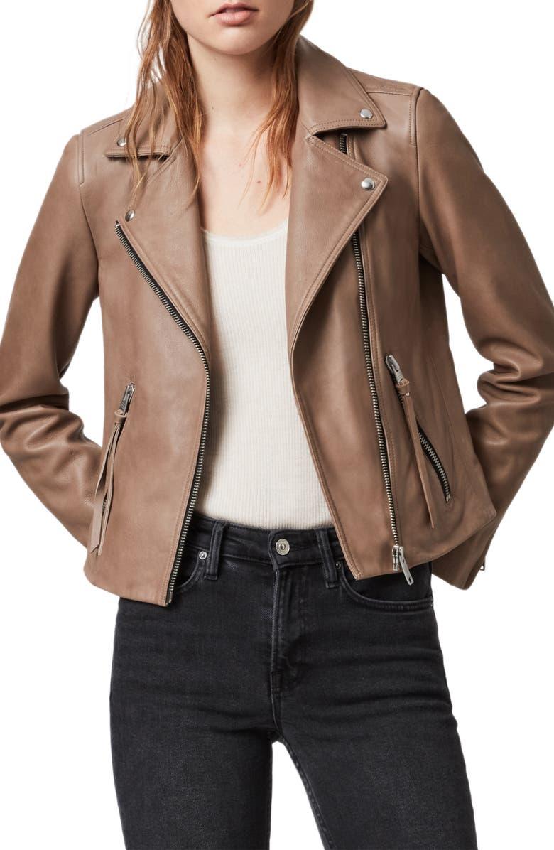 ALLSAINTS Dalby Lambskin Leather Biker Jacket, Main, color, 250