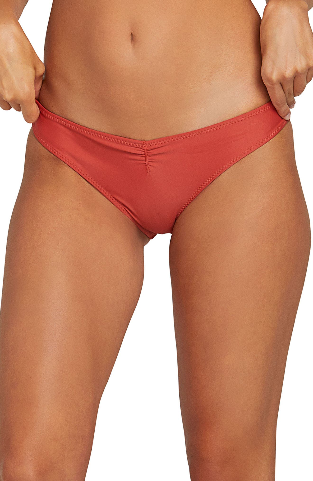 Volcom Simply Solid V Cheeky Bikini Bottom, Orange