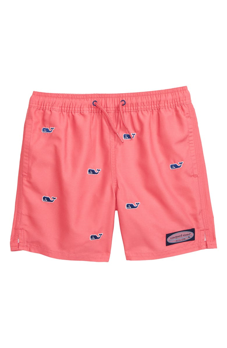 VINEYARD VINES Embroidered Whale Chappy Swim Trunks, Main, color, JETTY RED