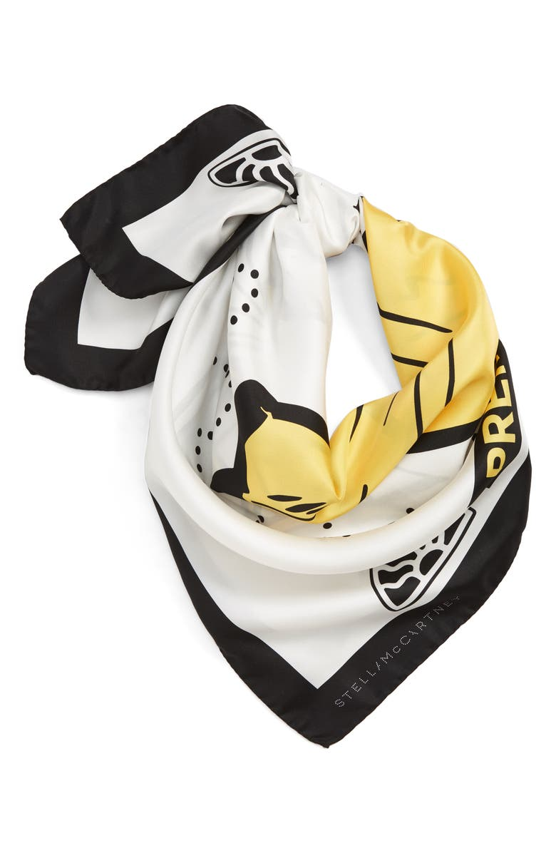 STELLA MCCARTNEY Banana Silk Bandana, Main, color, 100