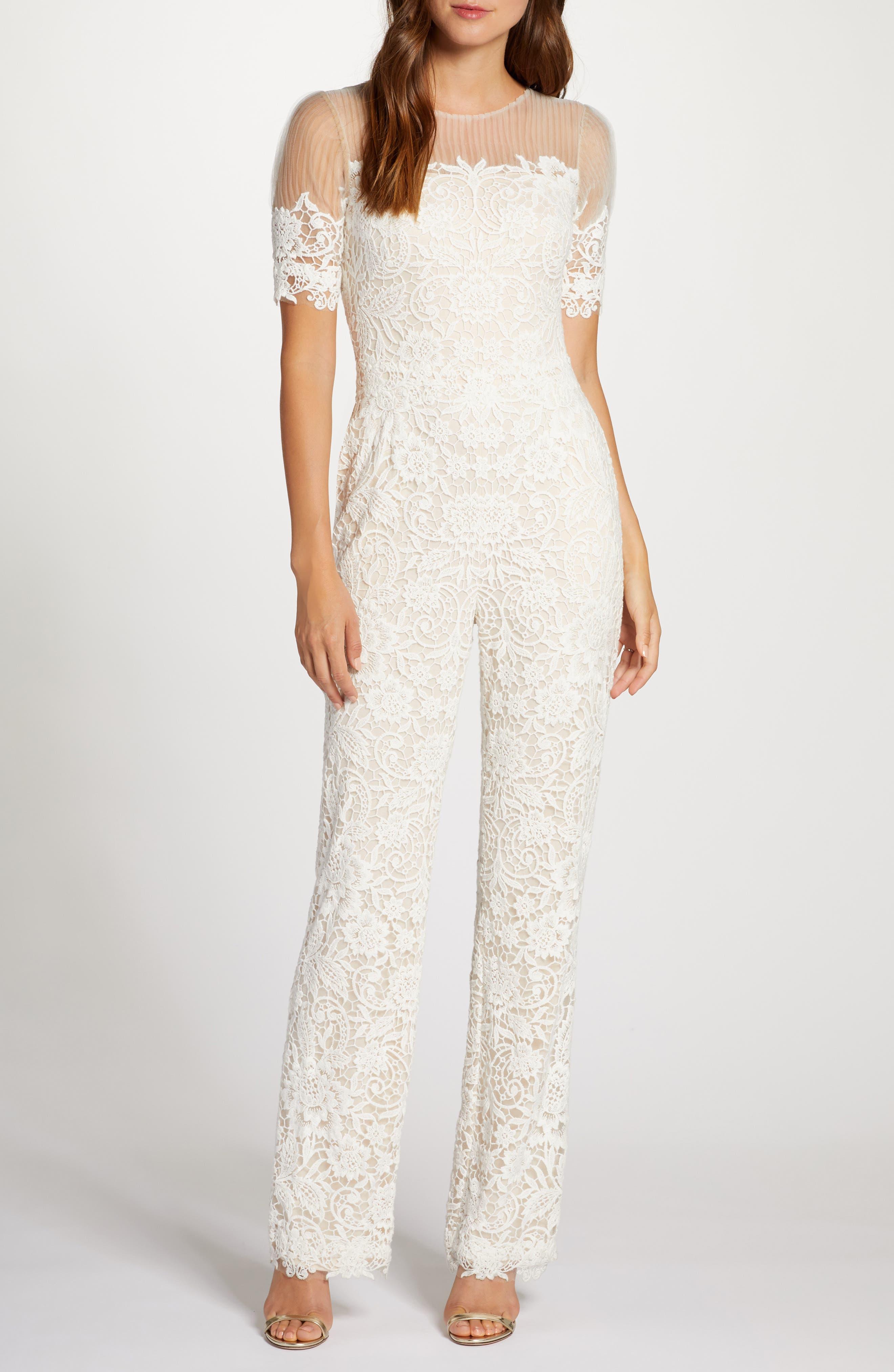 60s Wedding Dresses | 70s Wedding Dresses Womens Tadashi Shoji Lace Straight Leg Wedding Jumpsuit $828.00 AT vintagedancer.com