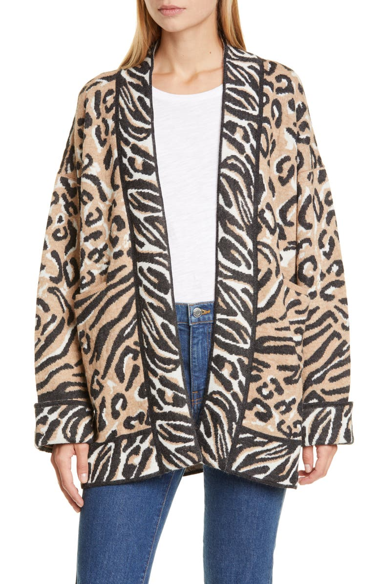 ELEVEN SIX Luella Animal Jacquard Alpaca Blend Cardigan, Main, color, CHEETAH GOES ZEBRA