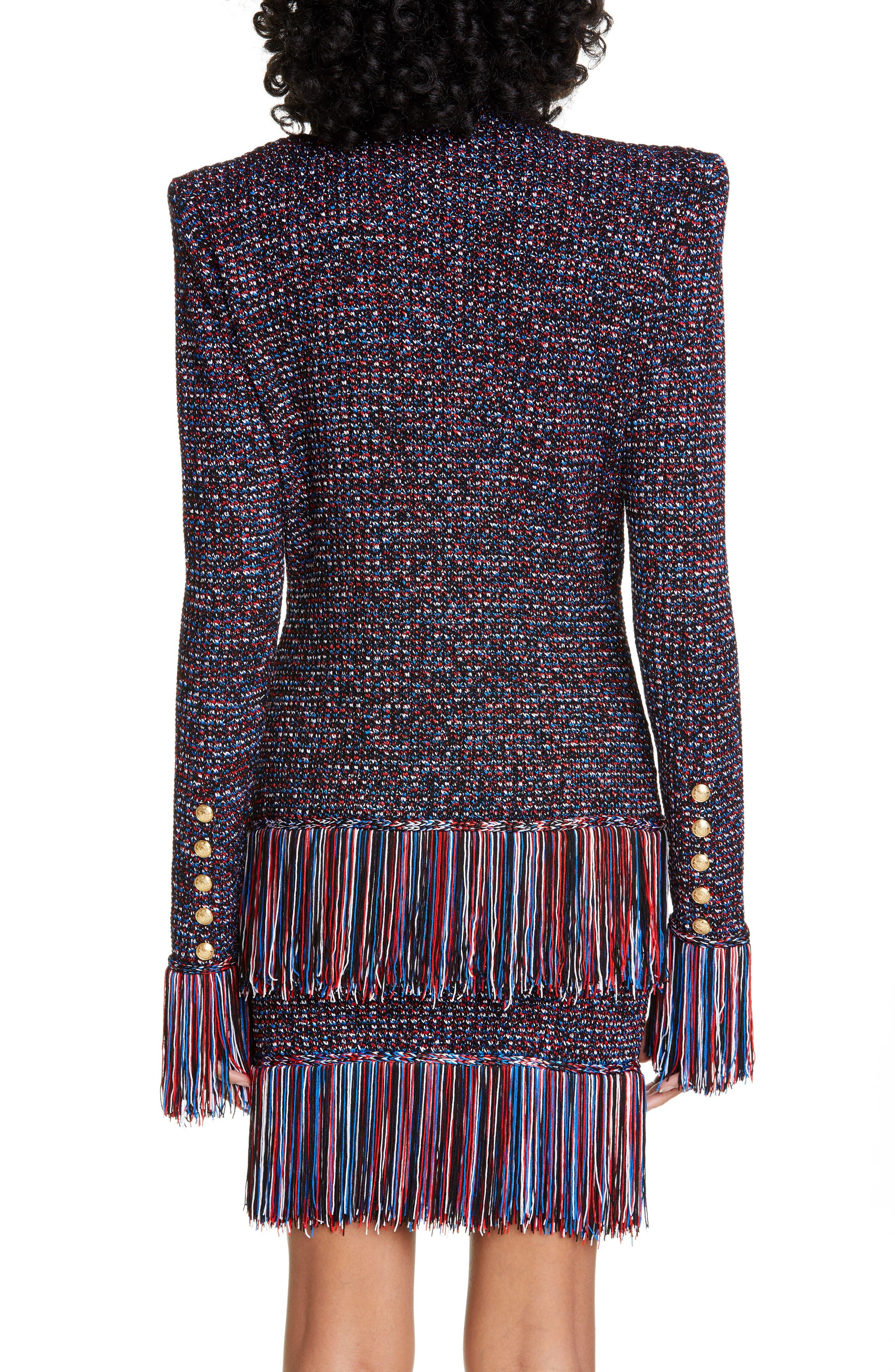 ,                             Fringe Trim Tweed Jacket,                             Alternate thumbnail 2, color,                             EBJ NOIR/ BLEU/ BLANC