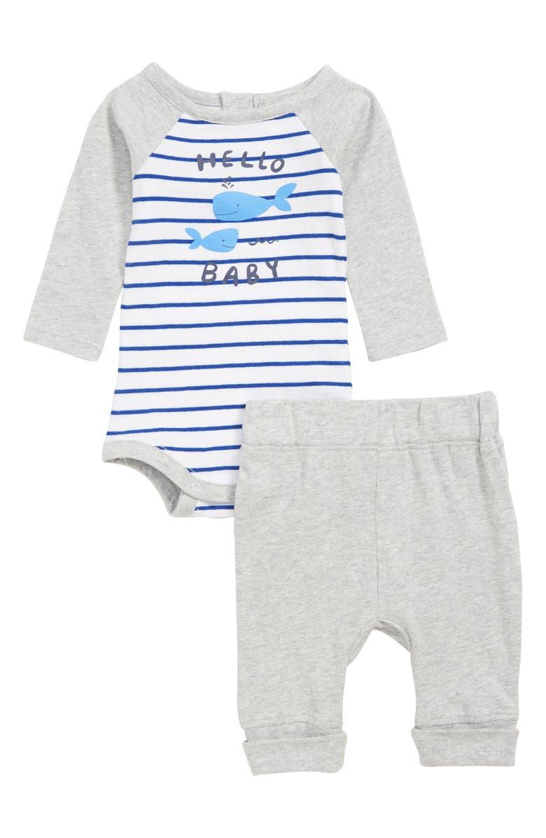 NORDSTROM BABY Hello Baby Bodysuit & Sweatpants Set, Main, color, 100