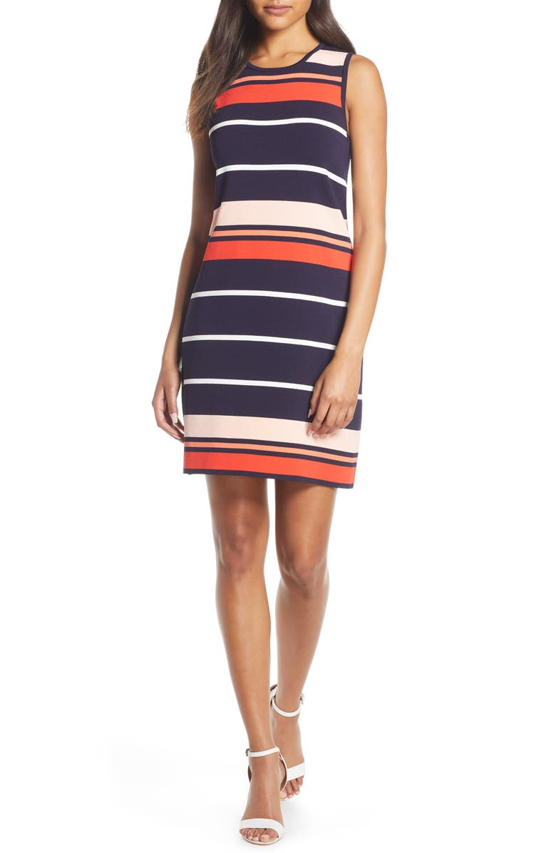Stripe Sleeveless Shift Sweater Dress, Main, color, NAVY